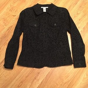 Bamboo Traders Black on black leopard print jacket